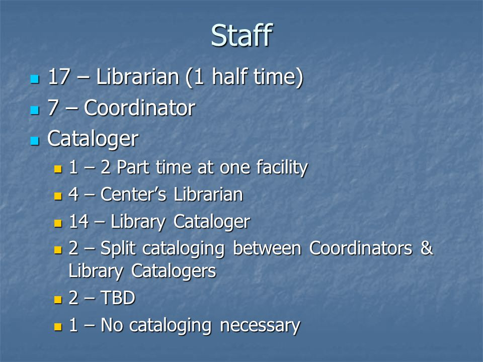 Staff 17 – Librarian (1 half time) 17 – Librarian (1 half time) 7 – Coordinator 7 – Coordinator Cataloger Cataloger 1 – 2 Part time at one facility 1 – 2 Part time at one facility 4 – Center's Librarian 4 – Center's Librarian 14 – Library Cataloger 14 – Library Cataloger 2 – Split cataloging between Coordinators & Library Catalogers 2 – Split cataloging between Coordinators & Library Catalogers 2 – TBD 2 – TBD 1 – No cataloging necessary 1 – No cataloging necessary