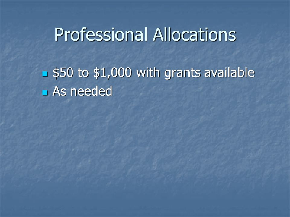 Professional Allocations $50 to $1,000 with grants available $50 to $1,000 with grants available As needed As needed