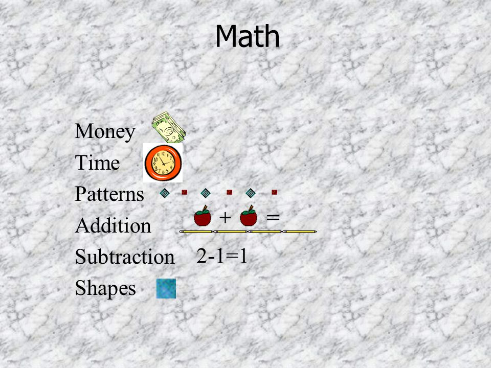 Math Money Time Patterns Addition Subtraction Shapes 2-1=1