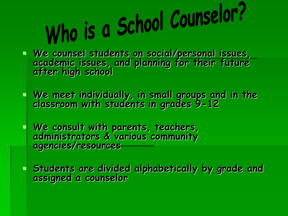  We counsel students on social/personal issues, academic issues, and planning for their future after high school  We meet individually, in small groups and in the classroom with students in grades 9-12  We consult with parents, teachers, administrators & various community agencies/resources  Students are divided alphabetically by grade and assigned a counselor