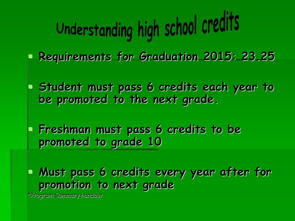  Requirements for Graduation 2015: 23.25  Student must pass 6 credits each year to be promoted to the next grade.