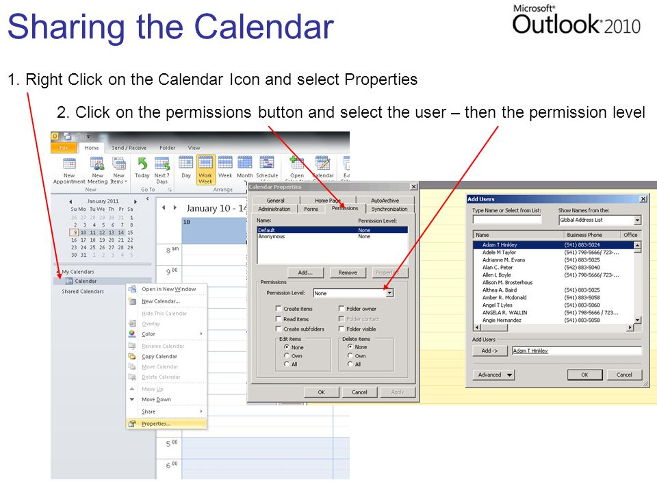 Sharing the Calendar 1. Right Click on the Calendar Icon and select Properties 2.