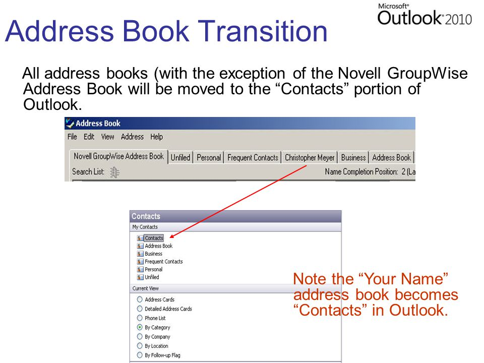 """Address Book Transition All address books (with the exception of the Novell GroupWise Address Book will be moved to the """"Contacts"""" portion of Outlook."""