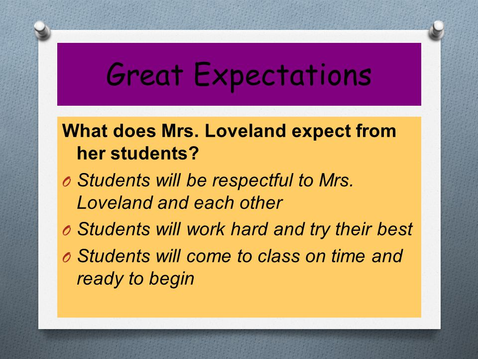 Great Expectations What can students expect from Mrs.