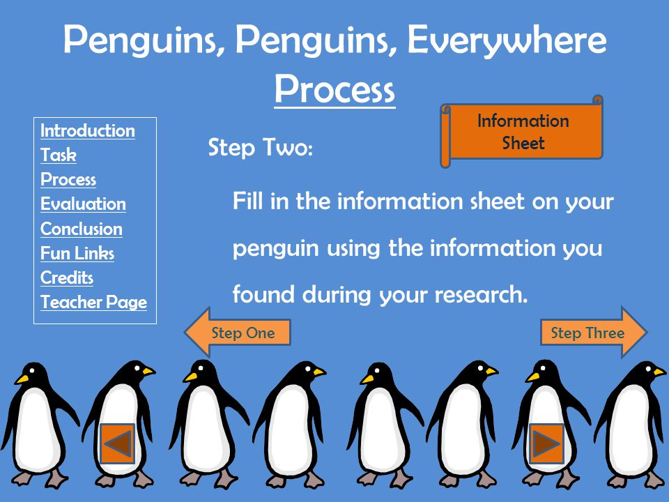 Penguins, Penguins, Everywhere Process Introduction Task Process Evaluation Conclusion Fun Links Credits Teacher Page Step Three: In the computer lab, add your information into the brochure template to create a brochure on your type of penguin.