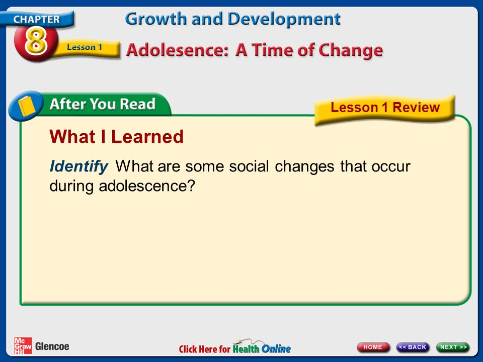 What I Learned Identify What are some social changes that occur during adolescence? Lesson 1 Review