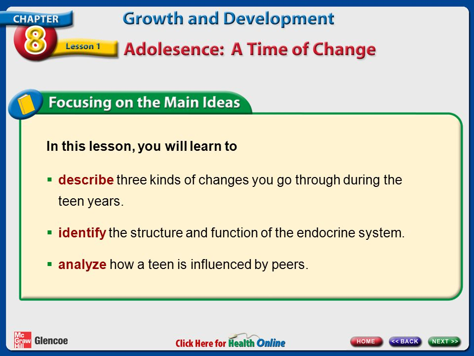 In this lesson, you will learn to  describe three kinds of changes you go through during the teen years.  identify the structure and function of the