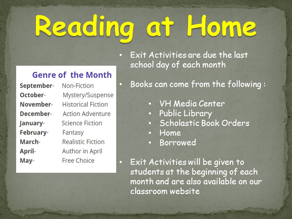 Exit Activities are due the last school day of each month Books can come from the following : VH Media Center Public Library Scholastic Book Orders Home Borrowed Exit Activities will be given to students at the beginning of each month and are also available on our classroom website