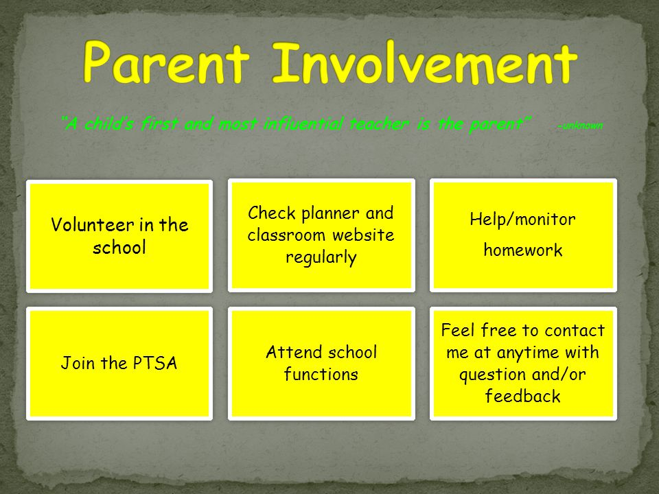 """A child's first and most influential teacher is the parent"" -unknown Volunteer in the school Check planner and classroom website regularly Help/monit"
