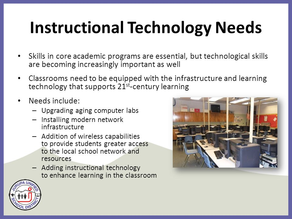 Instructional Technology Needs Skills in core academic programs are essential, but technological skills are becoming increasingly important as well Classrooms need to be equipped with the infrastructure and learning technology that supports 21 st -century learning Needs include: – Upgrading aging computer labs – Installing modern network infrastructure – Addition of wireless capabilities to provide students greater access to the local school network and resources – Adding instructional technology to enhance learning in the classroom