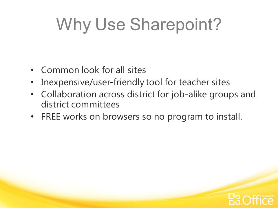 Getting your own SharePoint Site Size limits: School – 500MB Teacher – 200MB Student – 50MB Teacher/Individual Web Sites will be a sub site of the new SharePoint Site