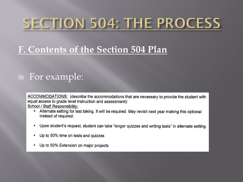 F. Contents of the Section 504 Plan  For example: