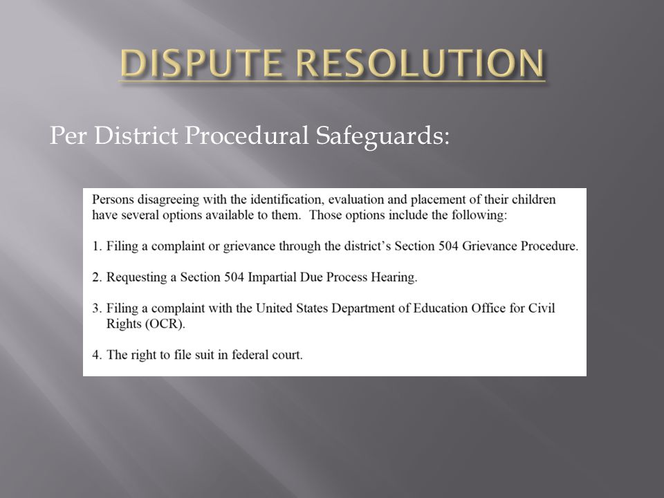 Per District Procedural Safeguards: