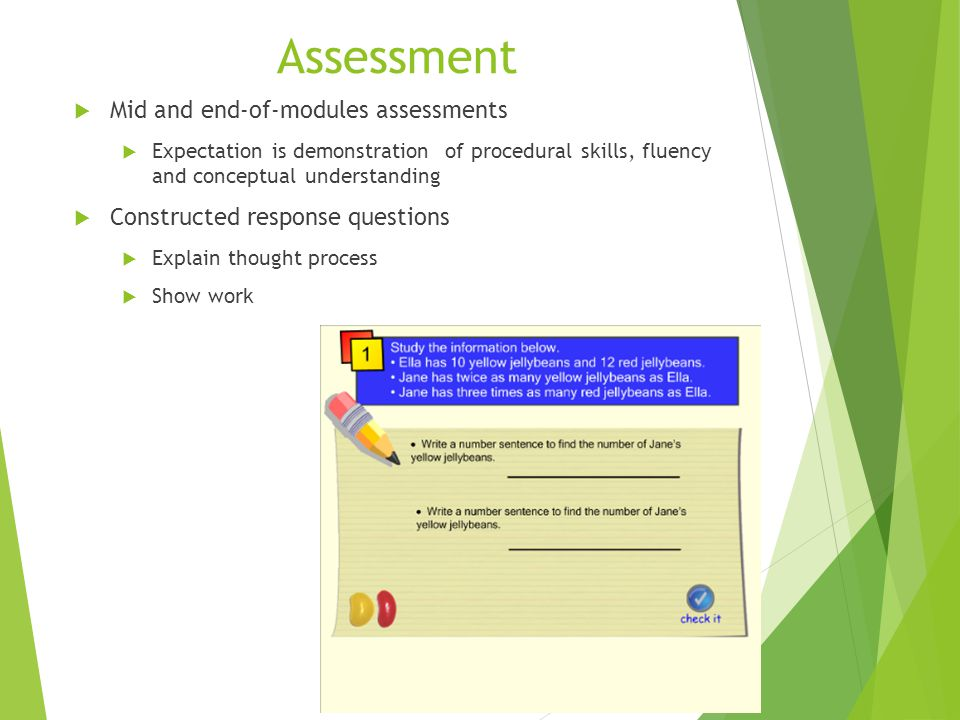 Assessment  Mid and end-of-modules assessments  Expectation is demonstration of procedural skills, fluency and conceptual understanding  Constructe