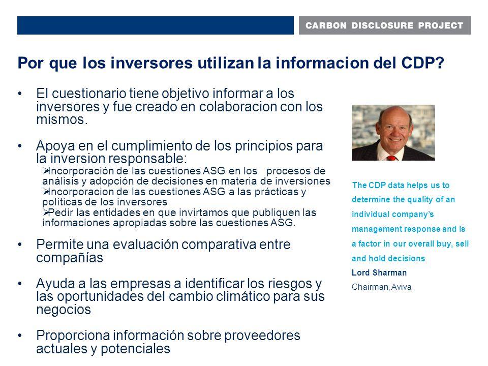 Por que los inversores utilizan la informacion del CDP.