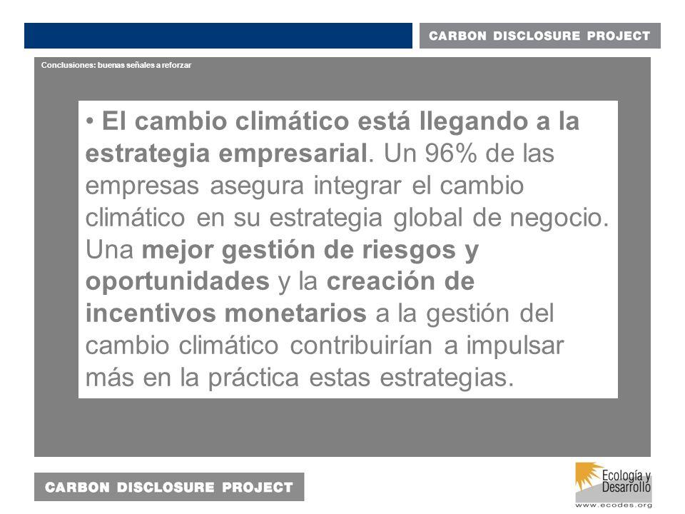 Conclusiones: buenas señales a reforzar El cambio climático está llegando a la estrategia empresarial.