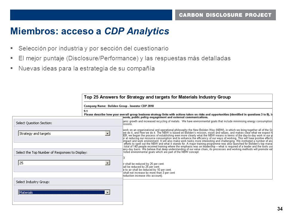 Miembros: acceso a CDP Analytics Name of presentation Name of presenter 34  Selección por industria y por sección del cuestionario  El mejor puntaje (Disclosure/Performance) y las respuestas más detalladas  Nuevas ideas para la estrategia de su compañía