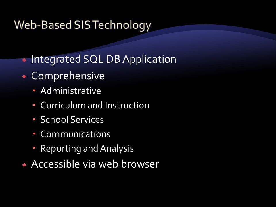  Integrated SQL DB Application  Comprehensive  Administrative  Curriculum and Instruction  School Services  Communications  Reporting and Analysis  Accessible via web browser