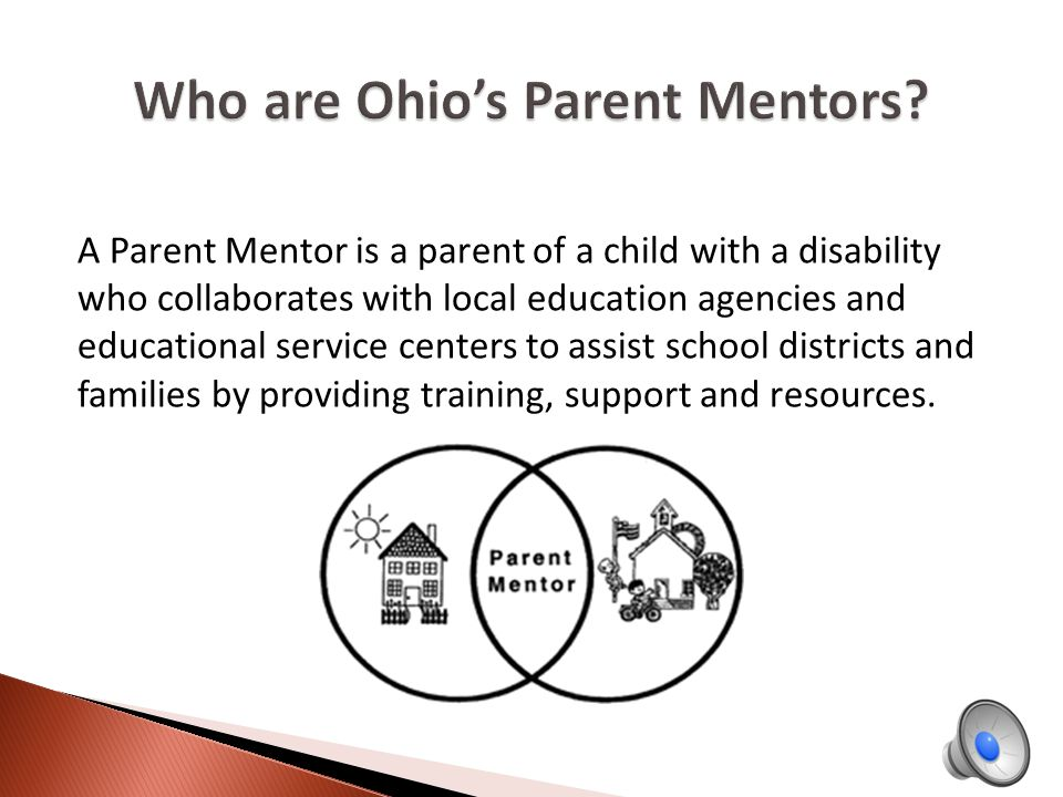 A Parent Mentor is a parent of a child with a disability who collaborates with local education agencies and educational service centers to assist school districts and families by providing training, support and resources.