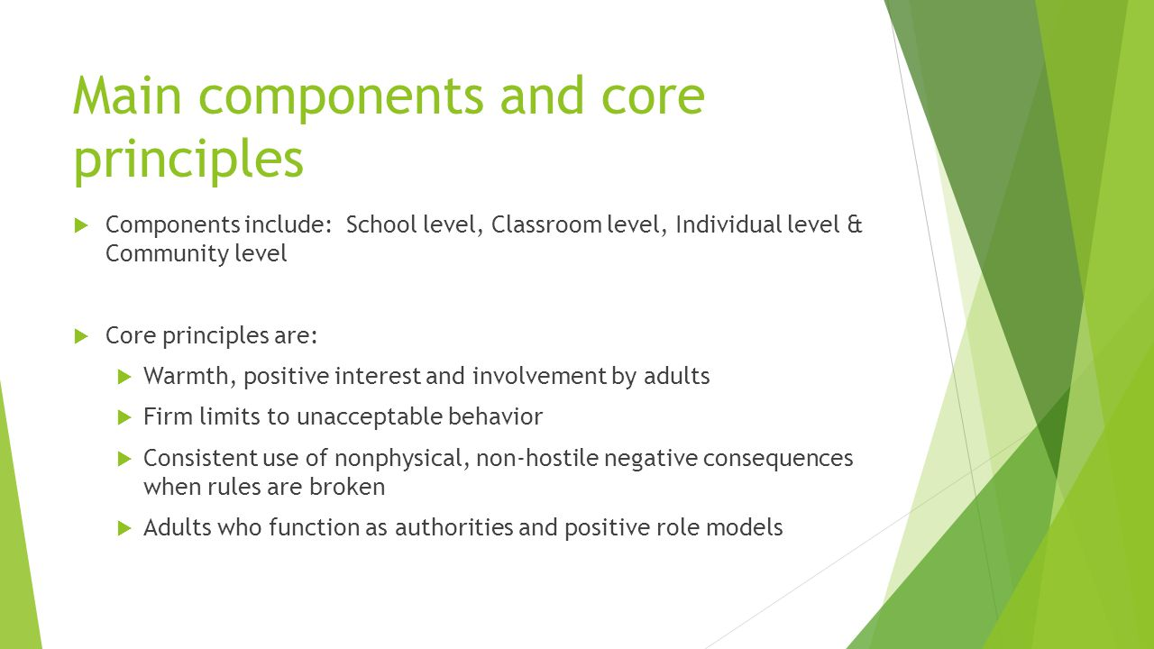 Main components and core principles  Components include: School level, Classroom level, Individual level & Community level  Core principles are:  Warmth, positive interest and involvement by adults  Firm limits to unacceptable behavior  Consistent use of nonphysical, non-hostile negative consequences when rules are broken  Adults who function as authorities and positive role models