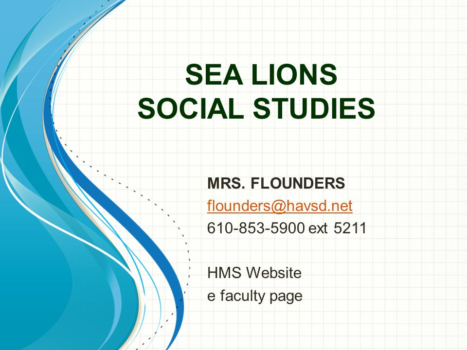 SEA LIONS SOCIAL STUDIES MRS.