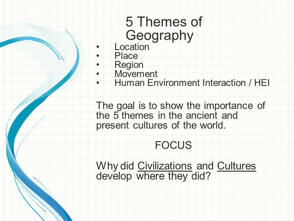 5 Themes of Geography Location Place Region Movement Human Environment Interaction / HEI The goal is to show the importance of the 5 themes in the ancient and present cultures of the world.