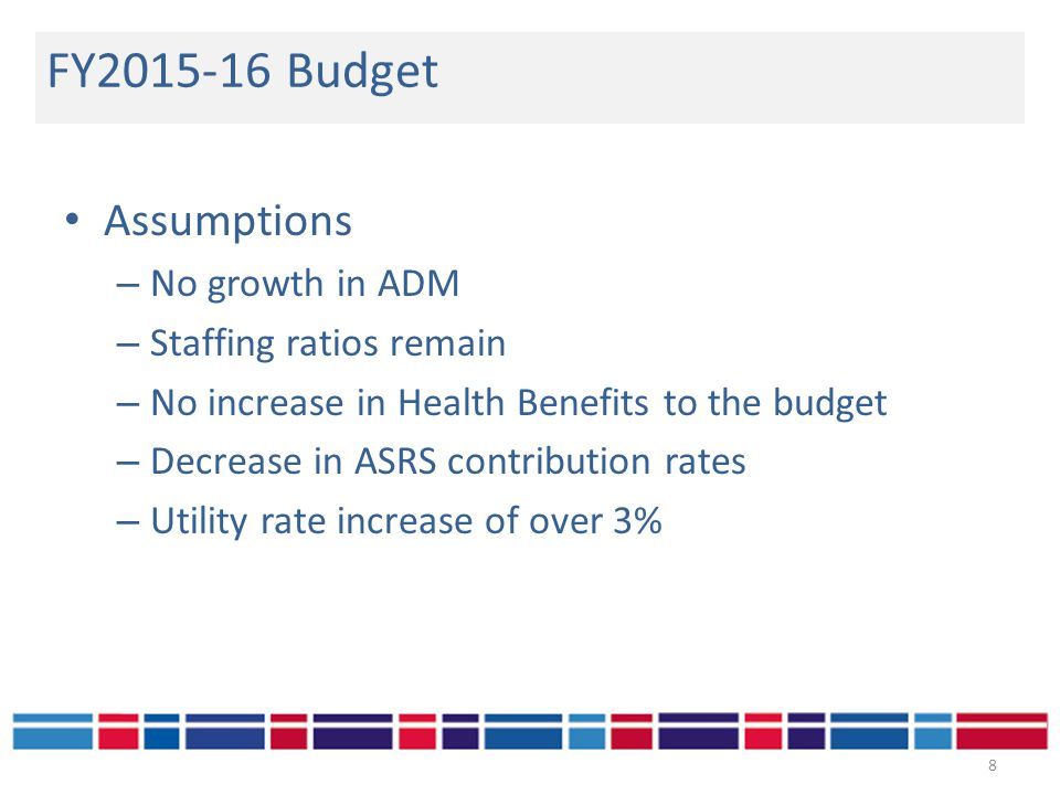Assumptions – No growth in ADM – Staffing ratios remain – No increase in Health Benefits to the budget – Decrease in ASRS contribution rates – Utility rate increase of over 3% FY2015-16 Budget 8
