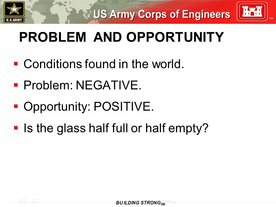 G2 - 22 BUILDING STRONG SM PROBLEM AND OPPORTUNITY  Conditions found in the world.  Problem: NEGATIVE.  Opportunity: POSITIVE.  Is the glass half
