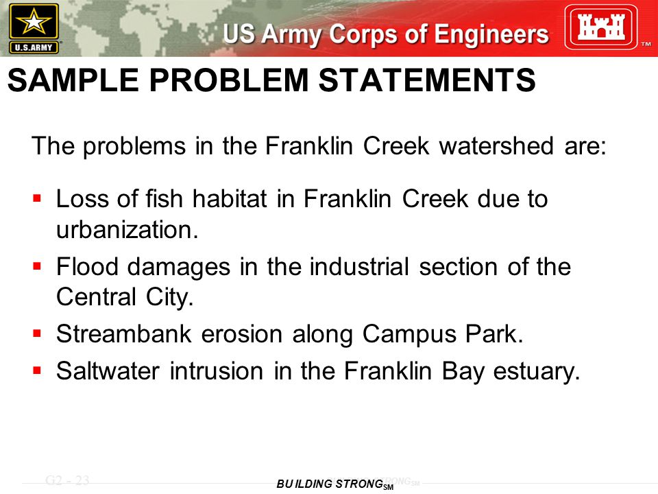 G2 - 23 BUILDING STRONG SM SAMPLE PROBLEM STATEMENTS The problems in the Franklin Creek watershed are:  Loss of fish habitat in Franklin Creek due to