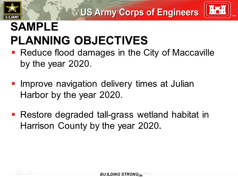 G2 - 29 BUILDING STRONG SM SAMPLE PLANNING OBJECTIVES  Reduce flood damages in the City of Maccaville by the year 2020.  Improve navigation delivery