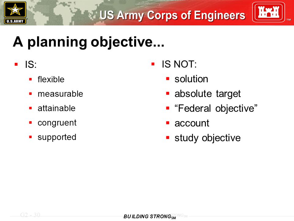 G2 - 30 BUILDING STRONG SM A planning objective...  IS:  flexible  measurable  attainable  congruent  supported  IS NOT:  solution  absolute