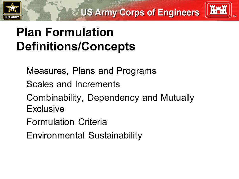 Measures, Plans and Programs Scales and Increments Combinability, Dependency and Mutually Exclusive Formulation Criteria Environmental Sustainability