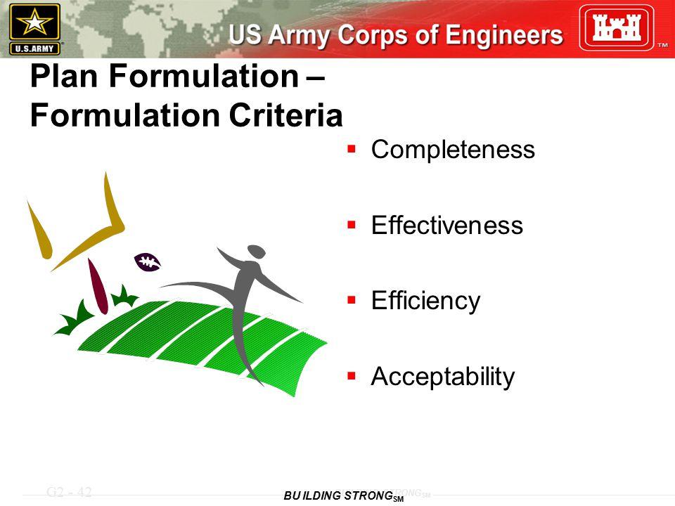 G2 - 42 BUILDING STRONG SM Plan Formulation – Formulation Criteria  Completeness  Effectiveness  Efficiency  Acceptability