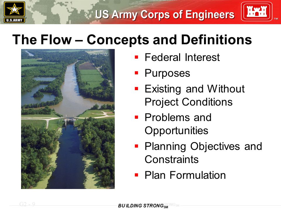 G2 - 9 BUILDING STRONG SM The Flow – Concepts and Definitions  Federal Interest  Purposes  Existing and Without Project Conditions  Problems and O