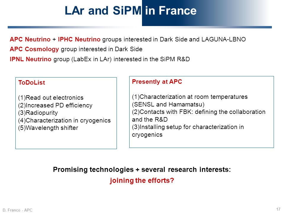 D. Franco - APC 17 LAr and SiPM in France APC Neutrino + IPHC Neutrino groups interested in Dark Side and LAGUNA-LBNO APC Cosmology group interested i