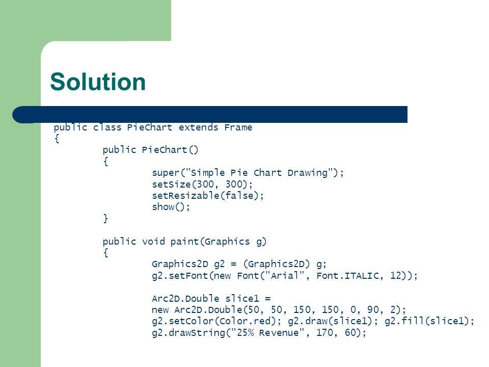 Solution public class PieChart extends Frame { public PieChart() { super( Simple Pie Chart Drawing ); setSize(300, 300); setResizable(false); show(); } public void paint(Graphics g) { Graphics2D g2 = (Graphics2D) g; g2.setFont(new Font( Arial , Font.ITALIC, 12)); Arc2D.Double slice1 = new Arc2D.Double(50, 50, 150, 150, 0, 90, 2); g2.setColor(Color.red); g2.draw(slice1); g2.fill(slice1); g2.drawString( 25% Revenue , 170, 60);