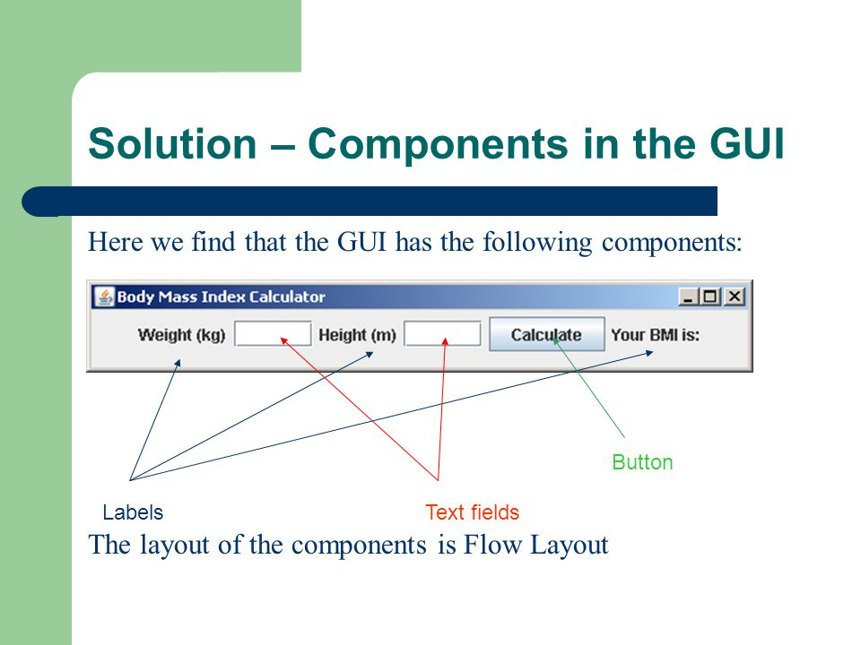 Solution – Code for the GUI 1.import java.awt.*; 2.