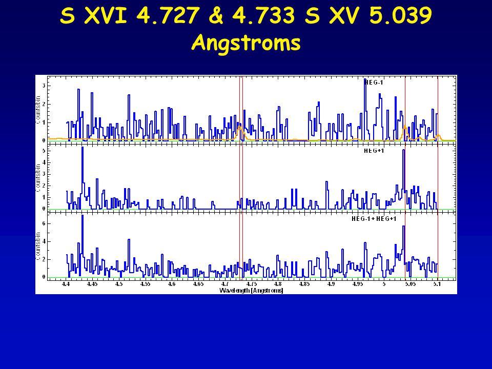 S XVI 4.727 & 4.733 S XV 5.039 Angstroms