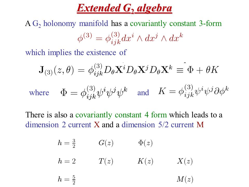 Extended G 2 algebra A G 2 holonomy manifold has a covariantly constant 3-form There is also a covariantly constant 4 form which leads to a dimension 2 current X and a dimension 5/2 current M which implies the existence of whereand