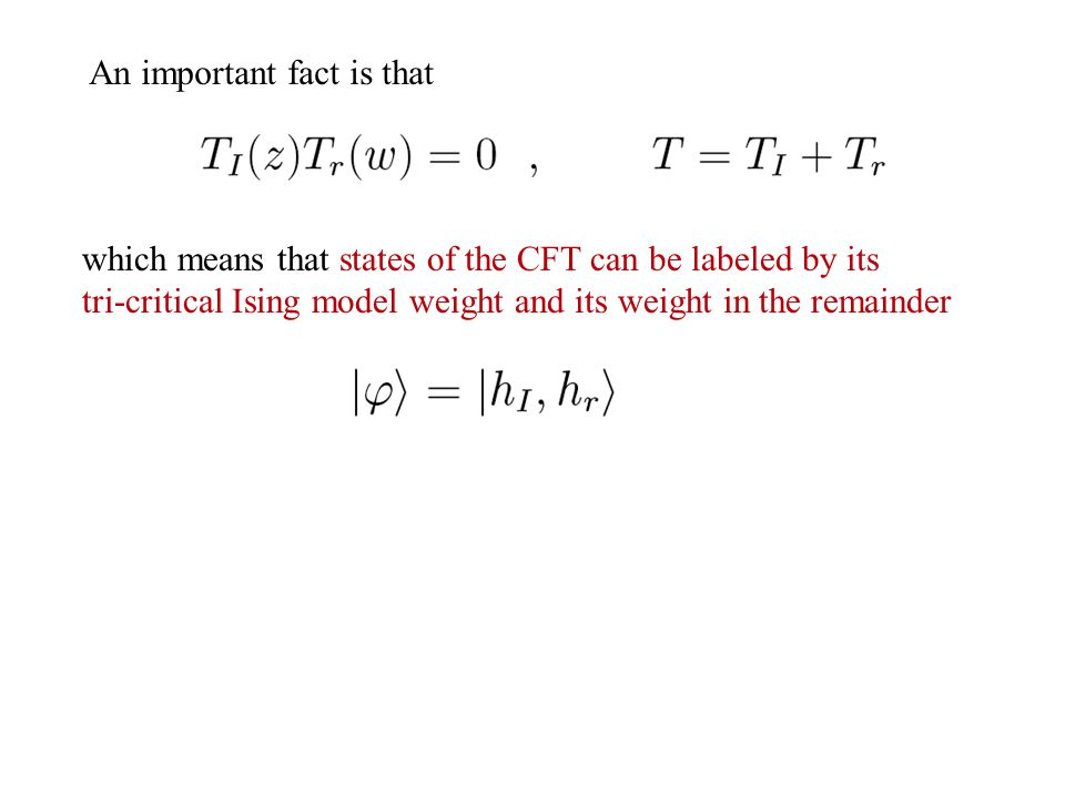 An important fact is that which means that states of the CFT can be labeled by its tri-critical Ising model weight and its weight in the remainder