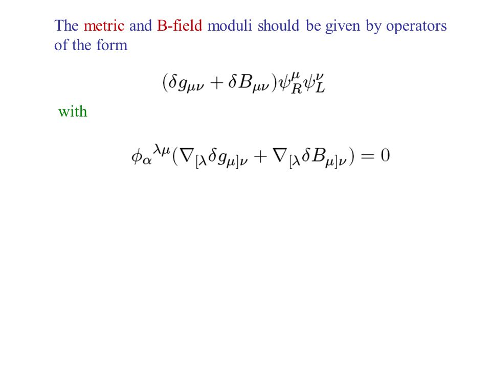 The metric and B-field moduli should be given by operators of the form with