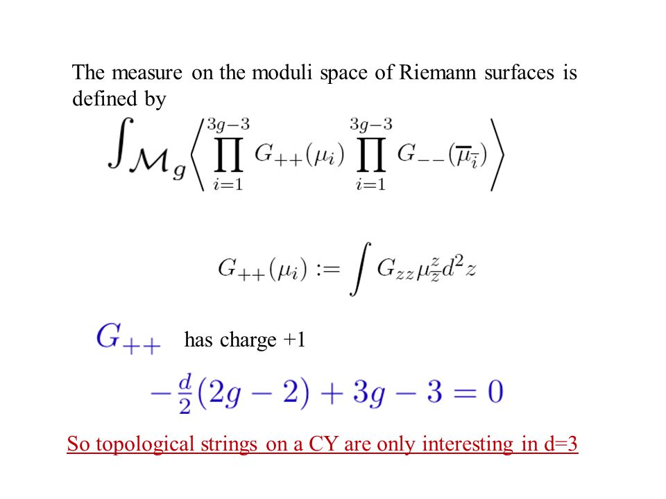 The measure on the moduli space of Riemann surfaces is defined by has charge +1 So topological strings on a CY are only interesting in d=3