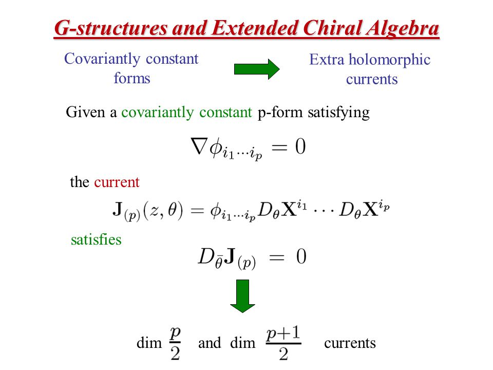 G-structures and Extended Chiral Algebra Covariantly constant forms Extra holomorphic currents Given a covariantly constant p-form satisfying the current satisfies dim and dimcurrents