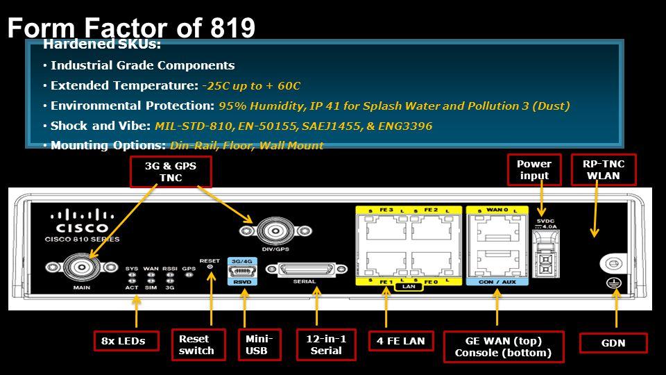 3G & GPS TNC 12-in-1 Serial 4 FE LAN RP-TNC WLAN GDN GE WAN (top) Console (bottom) Reset switch 8x LEDs Power input Mini- USB Hardened SKUs: Industria