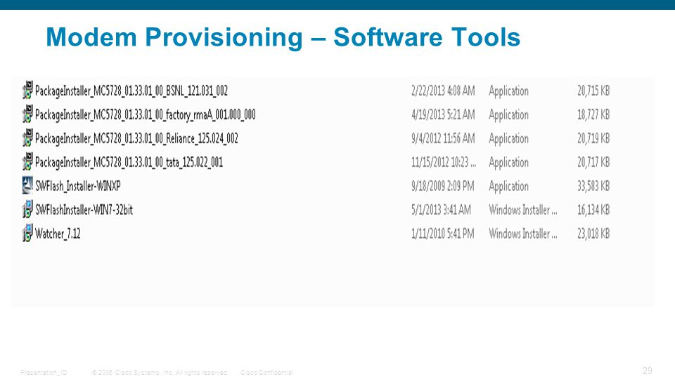 © 2006 Cisco Systems, Inc. All rights reserved.Cisco ConfidentialPresentation_ID 29 Modem Provisioning – Software Tools