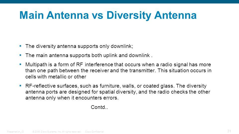 © 2006 Cisco Systems, Inc. All rights reserved.Cisco ConfidentialPresentation_ID 31 Main Antenna vs Diversity Antenna  The diversity antenna supports