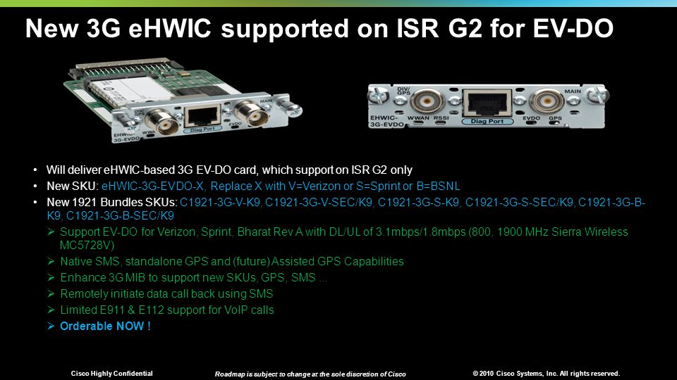 © 2010 Cisco Systems, Inc. All rights reserved. Cisco Highly Confidential Roadmap is subject to change at the sole discretion of Cisco New 3G eHWIC su