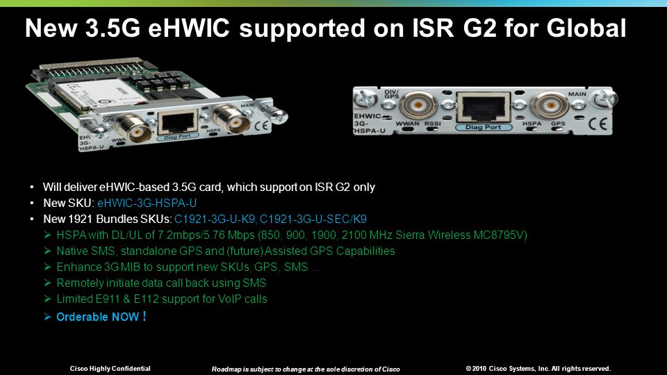 © 2010 Cisco Systems, Inc. All rights reserved. Cisco Highly Confidential Roadmap is subject to change at the sole discretion of Cisco New 3.5G eHWIC