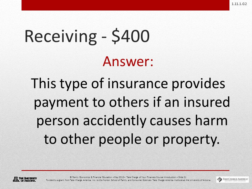 1.11.1.G2 © Family Economics & Financial Education –May 2012– Take Charge of Your Finances Course Introduction – Slide 21 Funded by a grant from Take Charge America, Inc.