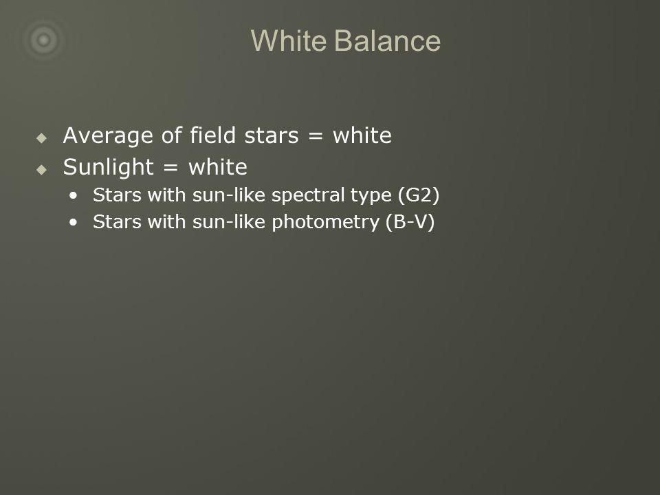 White Balance  Average of field stars = white  Sunlight = white Stars with sun-like spectral type (G2) Stars with sun-like photometry (B-V)